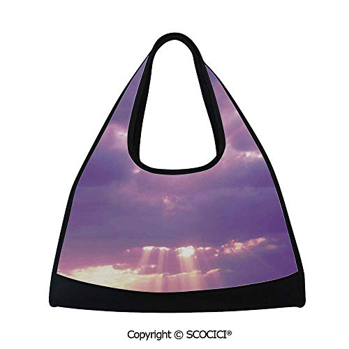 Tennis racket bag,Sunburst on Cloudy Sky Rainy Weather Romantic View Decorating Picture,Sports and Fitness Essentials(18.5x6.7x20 in) Purple White ()