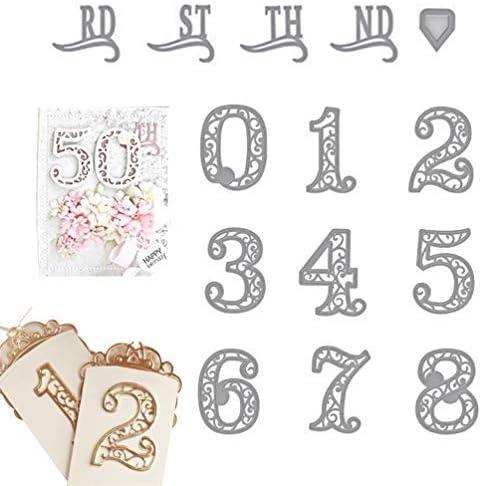 Scrapbooking dies de decoupe Nombre chiffres Cutting Dies pochoirs Matrices de d/écoupe Bricolage Album papier carte Craft