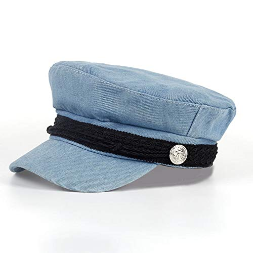 Fashion Solid Visor Military Hat Autumn and Winter Vintage Wool Patchwork Beret Cap for Women England,Sky Blue