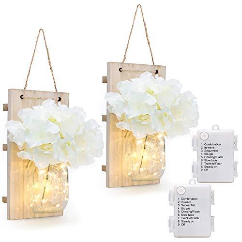 8 Modes Mason Jar Sconces LED - Fairy Lights,Vintage Wrought Iron Hooks, Silk Hydrangea Flower LED Strip Lights Design Home Kitchen Decoration Set of 2