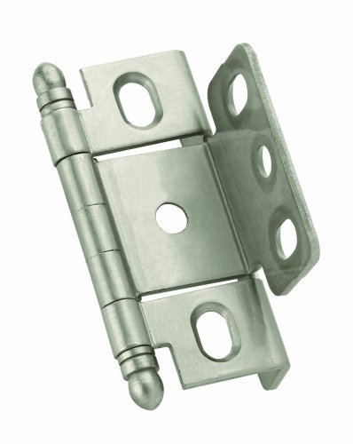 (Amerock PK3175TBG10 Full Inset, Full Wrap, Ball Tip Hinge with 3/4in(19mm) Door Thick. - Satin Nickel)