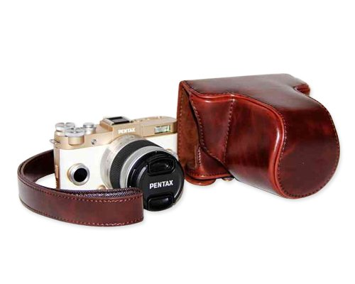 DSstyles Retro PU Leather Camera Case Bag Cover for Pentax QS1 Q-S1 Digital Camera 5-15mm Lens with Strap - Deep Brown