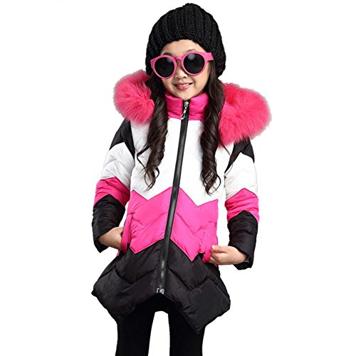 Girls' Faux Fur Trimmed Hooded Winter Down Jacket (S(130), Rose Red) (Fur Coat Costumes)