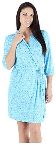 bSoft Ditsy Floral Women's Sleepwear Lightweight Bamboo Knit Kimono Short Bathrobe Wrap Robe (BSBJ1840-1200-S/M)