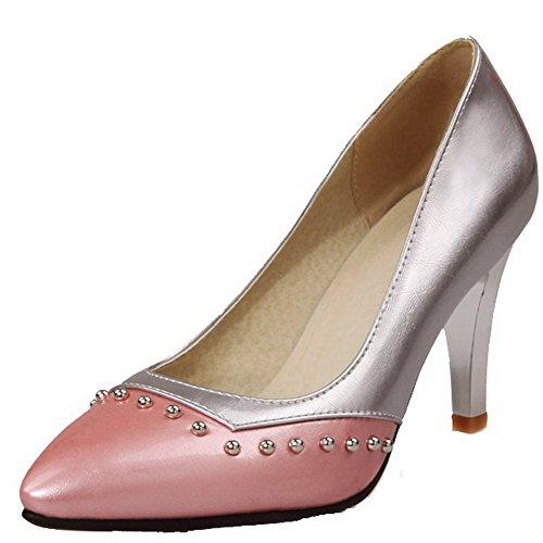 AllhqFashion Damen Weiches Material Spitz Zehe Hoher Absatz Eingelegt Pumps Schuhe Pink