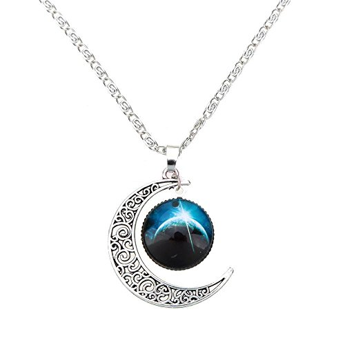 Luvalti Galaxy & Crescent Cosmic Blue Moon Pendant Necklace, Blue Glass, 17.5'' Chain, Great Gift for Women