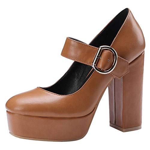 Talons Hauts Brown Chaussures Taoffen Bride Femmes Janes Escarpins Mary Cheville Plateforme qwwPxCF