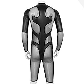 - 41yTt3WDbnL - iEFiEL Men's Faux Leather and Mesh Splice Long Sleeve Zipper Catsuit Zentai Bodysuit Unitard
