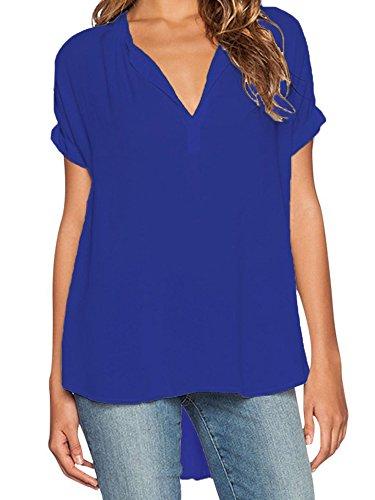 Elevesee Camisa Mujer Pulóver Chiffon Blouse Escote V Azul Manga Corta Azul