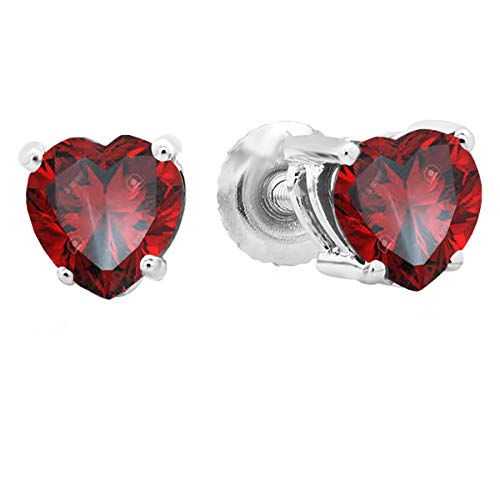 Dazzlingrock Collection 1.00 Carat (ctw) 14K 5 MM Heart Shape Natural Garnet Ladies Stud Earrings 1 CT, White Gold