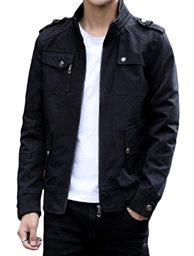 Size Black Coat AngelSpace Pocket Jacket Collar Plus Mens Leisure Stand Zip Cotton Washed FxFwq8RU