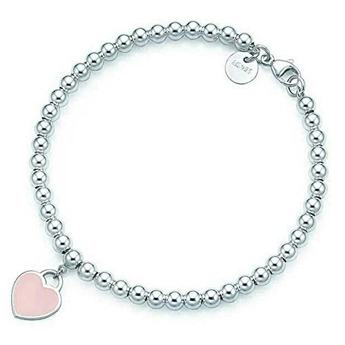 925 Sterling Silver Mini Blue Heart Tag Bead Bracelet - Tiffany And Co Heart