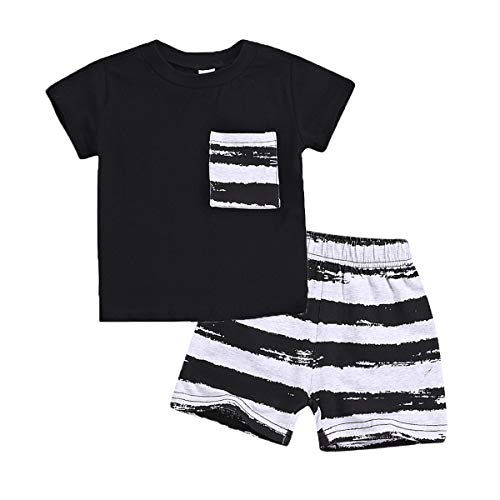 WISWELL Baby Boy Striped Pocket Short Set Infant Boy Short Sleeve T-Shirt + Stripe Pant Outfits (Striped, 12-18 Months)