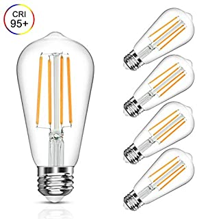 Vintage LED Edison Bulb, 6W, Equivalent 60W, Soft White 2700k, Non-Dimmable Led Filament Light Bulb, E26 Base, High CRI 95+ Eye Protection Led Bulb, Clear Glass for Home Bathroom Kitchen, Pack of 5