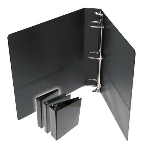 3'' Standard Black D-Ring Clear Overlay View Binders - 6pk