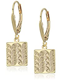 18k Yellow Gold Plated Sterling Silver Diamond Cut Square Lever Back Earrings
