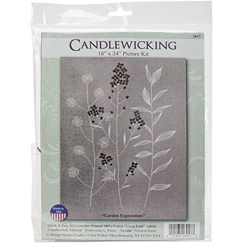 - Design Works Crafts 3017 Garden Expressions Candlewick Kit, 18 by 24
