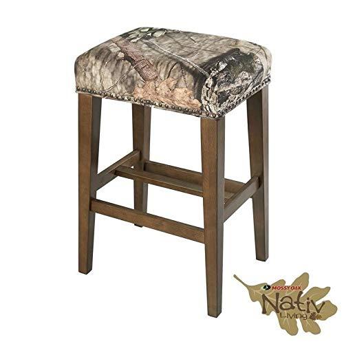 Linon The Mossy Oak Native Living Backless Bar Stool (Oak Bar Stool Brass)