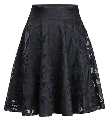 chouyatou Women's Casual Work Wear High Waisted Midi Floral Organza Skater Skirt