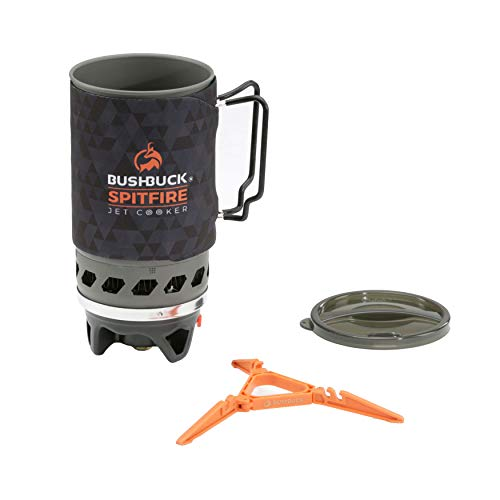 Bushbuck 1.4L Spitfire Camping Stove Cooking System Stainless Steel Pot Support – Quick Boil Time, Efficient, Lightweight, Single Burner 1000W Similar to Jet Boil Jetboil