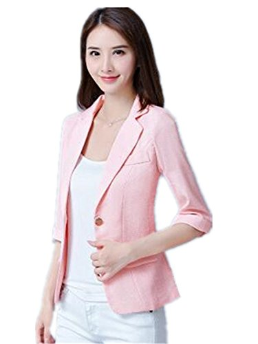 JIANGTAOLANG Women Plaid Blazers 3/4 Sleeve Work Wear Blazer Plus Size Casual Outerwear OL Coat Pink -