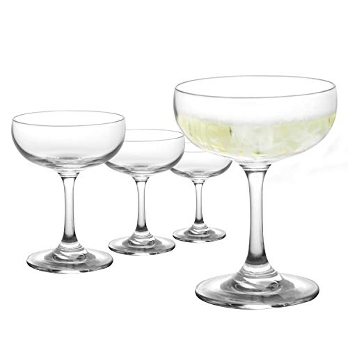 BlueFind Coupe Cocktail Glass, Crystal Clear Champagne Coupe Glasses – Set of 4 (7 ounce)