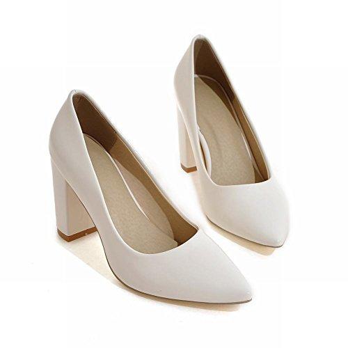 Mee Shoes Damen chunky heels spitz Geschlossen Pumps Weiß