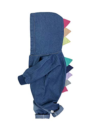 - Minilove Baby Dinosaur Denim Hoodie Romper (100,Blue(D))