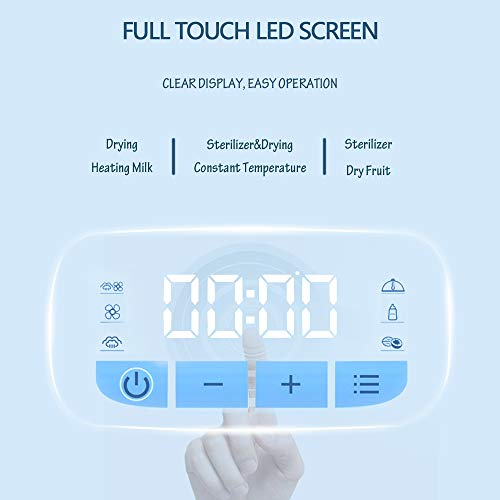 41yTumpGfLL - Eccomum Baby Bottle 𝘚𝘵𝘦𝘳𝘪𝘭𝘪𝘻𝘦𝘳 And Dryer, LED Touch Screen, 360° Steam 𝐃𝐢𝐬𝐢𝐧𝐟𝐞𝐜𝐭𝐢𝐨𝐧 & Drying, Super Large Capacity, HEPA Filter, Homemade Dried Fruit