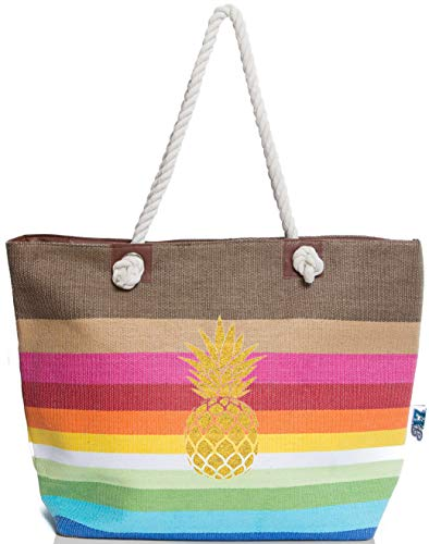 Nautical Straw Tote - XL Nautical Striped Straw Beach Bags Tote with Zipper Closure and Rope Handle