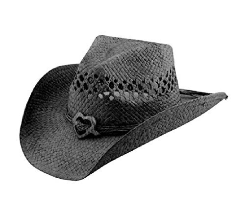 Saddleback Hats Vented Straw Cowboy Hat w/Wood Heart Band Shapeable Cowgirl Western (Black) ()