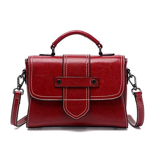 Leather Wine Orchid Haxibkena Flax Handbags Ladies colore Crossbody Red FxagqdOwZ