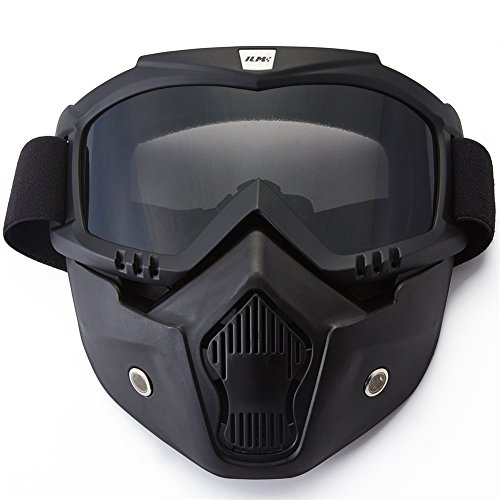 9c4366993d ILM Motorcycle Helmet Riding Goggles Glasses With Removable Face Mask Fits  for Powersports Airsoft Paintball (