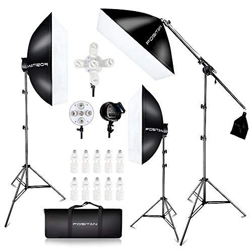 FOSITAN 3X 20'' x 28''Softbox Photography Lighting Kit, Boom Arm Headlight Lighting Kit with Sandbag, 2500W Continuous Lighting Kit with 2M Light Stand, Studio Lighting Kit with 11pcs Bulbs