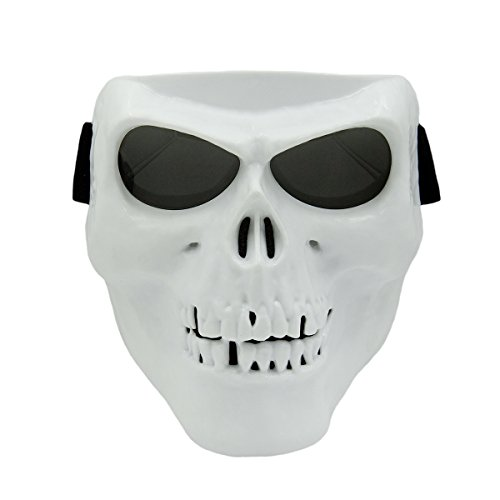 Vhccirt Motorcycle Mask With Polaroid Goggles Skiing Goggles Gray Lens White Skull Mask Grim Reaper Cos Mask For Motorcross Helmet/Party Cos/Airsoft Safety