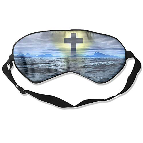 Sleeping Mask Cross Mark Symbol of Christian Adjustable Head Strap Eyeshade