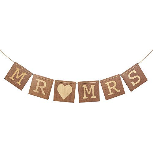Ling's moment Mr & Mrs Wedding Signs, Wood Mr & Mrs Heart Banners for Bride & Groom Chair, Rustic Sweetheart Table Decorations, Wedding Photo Props -