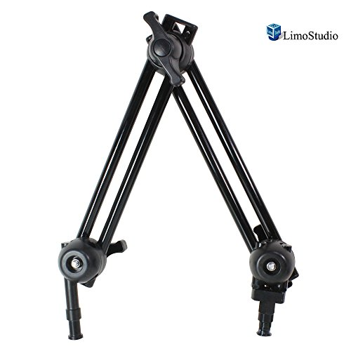 LimoStudio 2 Section Double Articulated Arm Camera Mount Bracket, 5/8'' Stud with 3/8'' Screw Thread Hole, 12 Inch Long Each Section, Compatible with Photo Super Clamp, Angle Adjustable, AGG2242 by LimoStudio