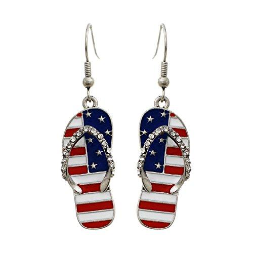 Patriotic Rhinestone Crystal Beach Sandals with Stars and Strips American Flag Fish Hook Dangle Earrings ()