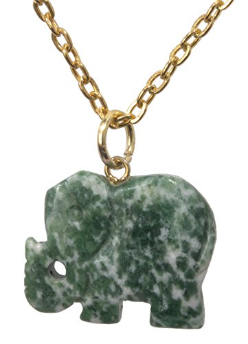 Unisex Gemstone Chai Jade Carved Lucky Elephant Pendant + FREE Gold Plated 20