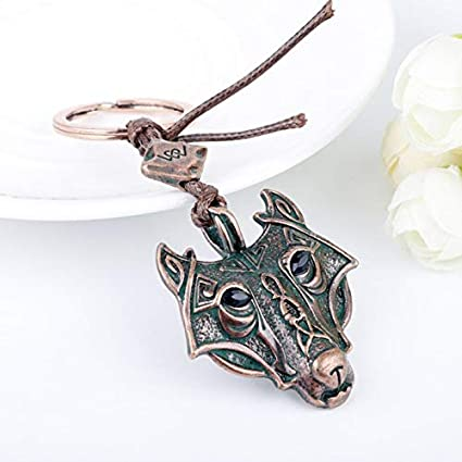 FITIONS - Vintage Nordic Mythology Viking Wolf Head Keychain ...