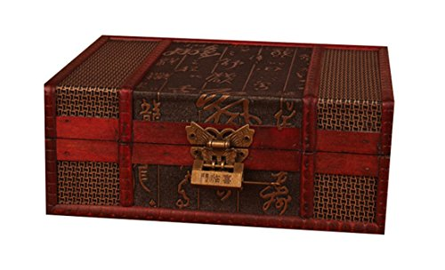 Bestwoo Vintage Treasure Storage Trunk Box Wood Jewelry Holder with Lock Chinese Style Pattern (Chinese Trunk Lock)