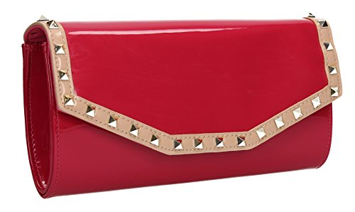Juno Stud Flapover Patent Leather Womens Party Prom Wedding Ladies Clutch Bag - Fuschia Pink
