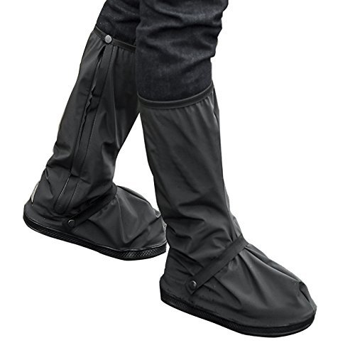 ARUNNERS Black Motorcycle Rain Boots Cycling Shoes Covers Gear Men Women (High,XL)