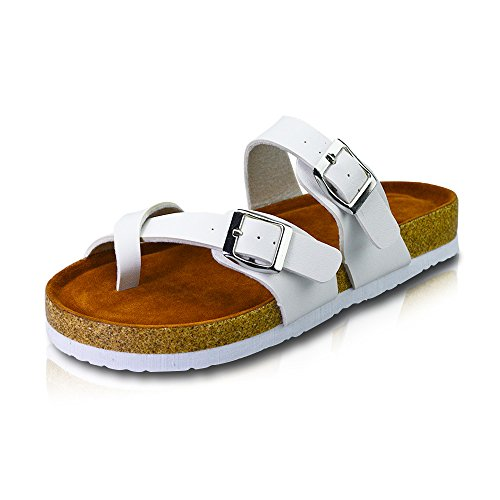 VLLY Women's Synthetic Leather Ring Open Toe with Soft Cork Footbed Sandals US 7 White (Leather Womens Ring)