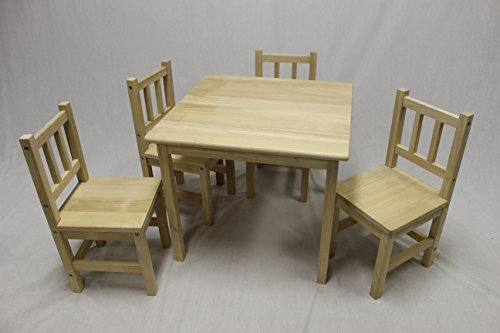- eHemco Kids Table and 4 Chairs Set Solid Hard Wood (Unfinished)