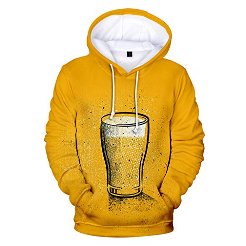 LENXH Men's Shirt Hooded Sweater Beer Festival Clothing 3D Printing Sweater Solid Color Sweater Casual Blouse Yellow