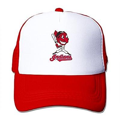 Matthe Art Printed Pattern Cleveland Indians Unisex Half Mesh Adjustable Baseball Cap Hat Snapback Red