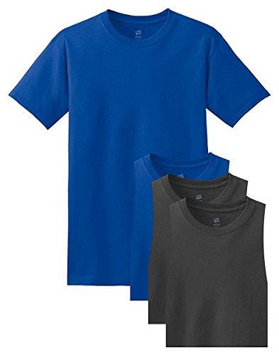 - Hanes Men's 4 Pack Short Sleeve Comfortsoft T-Shirt - 2 Deep Royal / 2 Smoke Grey - XXX-Large