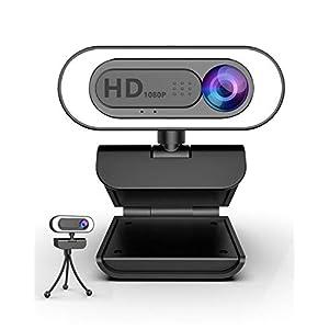 lesvtu Webcam 1080P Full HD avec Microphone, Streaming Web Cam pour PC avec Cache et Trepied, Camera PC USB avec Anneau…